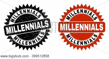 Black Rosette Millennials Seal. Flat Vector Scratched Watermark With Millennials Text Inside Sharp R