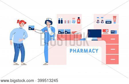Pharmacy Or Drugstore With Pharmacist Or Apothecary And Client Who Wants To Buy Medicament, Flat Car