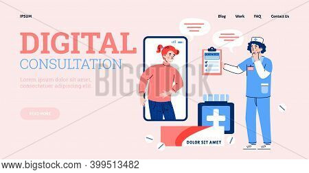 Digital Consultation And Online Medical Prescription Website Banner Template With Cartoon Characters