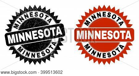 Black Rosette Minnesota Seal. Flat Vector Scratched Seal Stamp With Minnesota Title Inside Sharp Sta