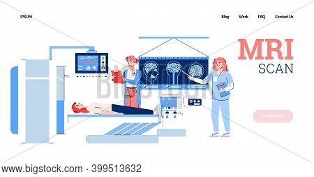Web Page Template For Mri Scan Medial Diagnostic, Flat Cartoon Vector Illustration. Human Body Disea