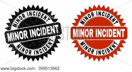Black Rosette Minor Incident Seal Stamp. Flat Vector Distress Seal Stamp With Minor Incident Text In
