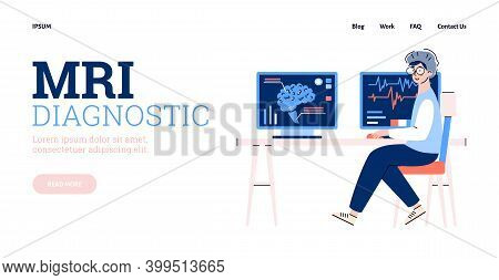 Website Page Template For Mri Medial Diagnostic With Cartoon Character Of Doctor Sitting Behind Comp