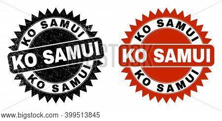 Black Rosette Ko Samui Stamp. Flat Vector Scratched Stamp With Ko Samui Caption Inside Sharp Rosette