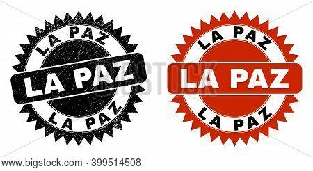 Black Rosette La Paz Seal Stamp. Flat Vector Scratched Seal Stamp With La Paz Text Inside Sharp Rose