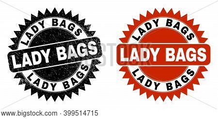 Black Rosette Lady Bags Stamp. Flat Vector Grunge Stamp With Lady Bags Text Inside Sharp Rosette, An