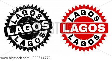 Black Rosette Lagos Seal Stamp. Flat Vector Distress Seal Stamp With Lagos Text Inside Sharp Rosette