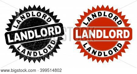Black Rosette Landlord Seal Stamp. Flat Vector Textured Stamp With Landlord Title Inside Sharp Roset