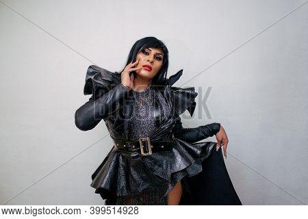Latina Transgender Wearing Exotic Drag Queen Costume. Transsexual