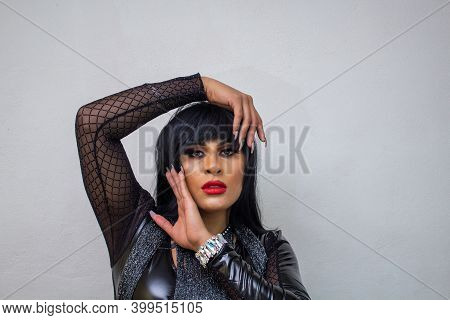 Fashion Mexican Transgender Wearing Exotic Drag Queen Costume. Transsexual