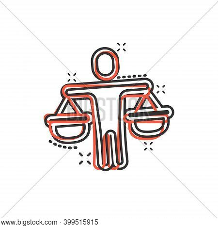 Ethic Balance Icon In Comic Style. Honesty Cartoon Vector Illustration On Isolated Background. Decis