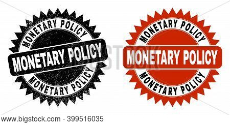 Black Rosette Monetary Policy Seal Stamp. Flat Vector Scratched Seal With Monetary Policy Phrase Ins