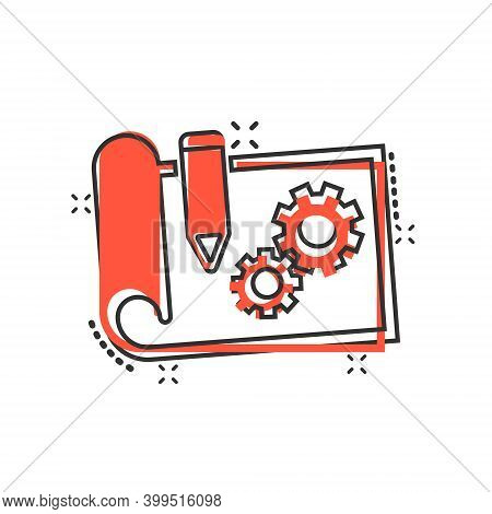 Prototype Icon In Comic Style. Startup Cartoon Vector Illustration On White Isolated Background. Mod