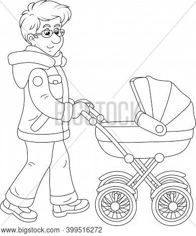 Young Dad Leisurely Walking With His Small Child Sleeping In A Baby Carriage On A Winter Day, Black
