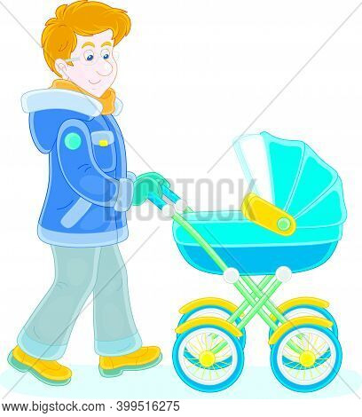 Young Dad Leisurely Walking With His Small Child Sleeping In A Colorful Baby Carriage On A Winter Da