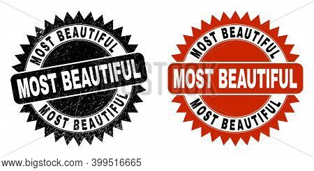 Black Rosette Most Beautiful Seal. Flat Vector Textured Seal Stamp With Most Beautiful Caption Insid