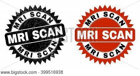 Black Rosette Mri Scan Seal Stamp. Flat Vector Distress Seal With Mri Scan Text Inside Sharp Rosette