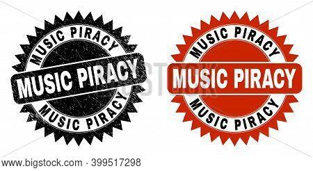 Black Rosette Music Piracy Seal Stamp. Flat Vector Textured Seal Stamp With Music Piracy Message Ins