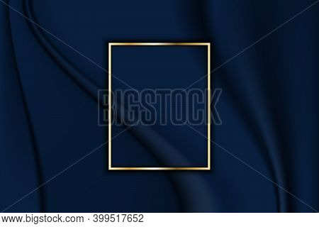 Luxury Frame Line Rectangle Golden Border And Overlapping Decoration On Crumpled Fabric Blue Dark Ba