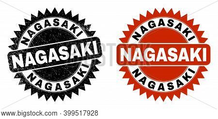 Black Rosette Nagasaki Watermark. Flat Vector Grunge Watermark With Nagasaki Message Inside Sharp Ro