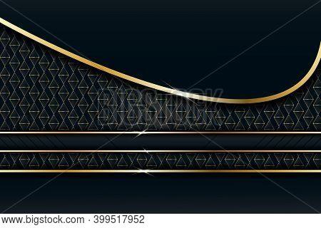 Luxury Line Golden Border And Overlapping Bend Decoration On Modern Dark Background. Vector Illustra