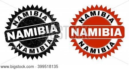 Black Rosette Namibia Seal Stamp. Flat Vector Scratched Seal Stamp With Namibia Message Inside Sharp
