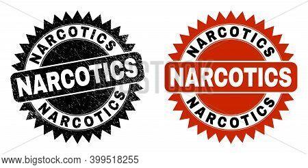 Black Rosette Narcotics Watermark. Flat Vector Grunge Seal With Narcotics Message Inside Sharp Roset