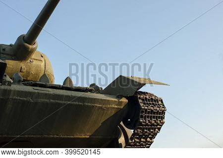 Monument To The T34 Tank Of The Second World War. Monument With The Russian T-34 Tank In Memory Of T