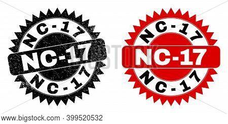 Black Rosette Nc-17 Seal. Flat Vector Grunge Seal With Nc-17 Title Inside Sharp Rosette, And Origina