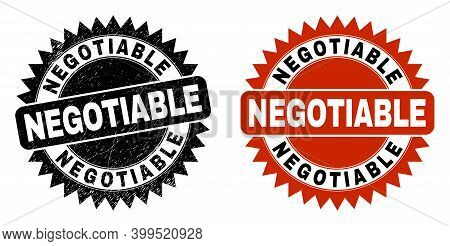 Black Rosette Negotiable Seal Stamp. Flat Vector Distress Seal Stamp With Negotiable Title Inside Sh