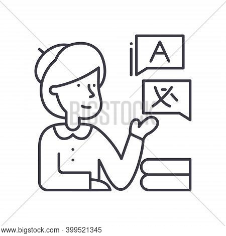 Interpreter Icon, Linear Isolated Illustration, Thin Line Vector, Web Design Sign, Outline Concept S