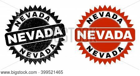 Black Rosette Nevada Seal. Flat Vector Scratched Seal With Nevada Text Inside Sharp Rosette, And Ori