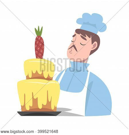 Chef With Delicious Cake, Cook Character In Hat And Apron Cooking Sweet Dessert In The Kitchen Carto
