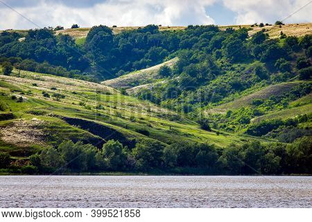 Panoramic View Of The River Don And Hills, Slopes, Steppe Coast, Gully, Ravine On A Banks.