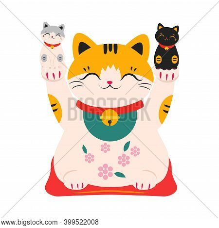 Japanese Maneki Neko With Kittens In Its Paws, Japanese Traditional White Lucky Cat Doll Cartoon Sty
