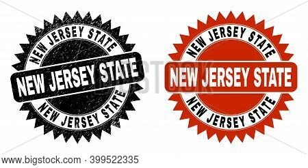 Black Rosette New Jersey State Seal. Flat Vector Textured Seal Stamp With New Jersey State Caption I