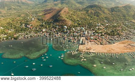 Sea Port, Pier, Cityscape Coron Town With Boats On Busuanga Island, Philippines, Palawan. Coron City