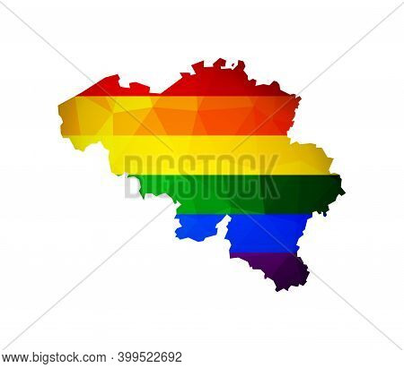 Vector Flat Isolated Illustration With Belgium Map In Low Poly Style. Atlas Is Colored In Rainbow Lg