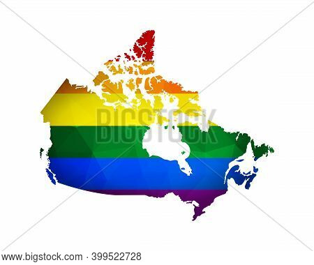 Vector Flat Concept With Canada Map In Polygonal Style. Atlas Is Colored In Rainbow Flag As Lgbtq+ S