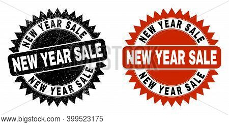 Black Rosette New Year Sale Seal Stamp. Flat Vector Distress Seal With New Year Sale Title Inside Sh