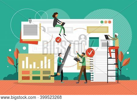 Project Management Concept Vector Illustration. Business Team Working Together With Project Data Das