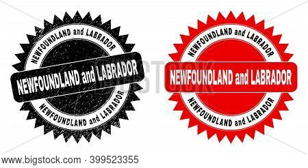 Black Rosette Newfoundland And Labrador Seal Stamp. Flat Vector Distress Seal With Newfoundland And