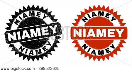Black Rosette Niamey Seal Stamp. Flat Vector Grunge Seal Stamp With Niamey Message Inside Sharp Rose