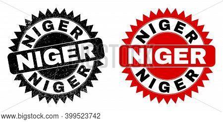 Black Rosette Niger Seal Stamp. Flat Vector Scratched Seal Stamp With Niger Title Inside Sharp Roset