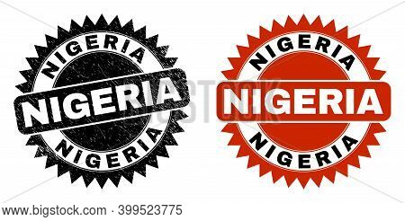 Black Rosette Nigeria Seal Stamp. Flat Vector Grunge Seal With Nigeria Text Inside Sharp Rosette, An