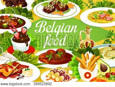 Belgian Cuisine Food Menu, Restaurant Meal Dishes, Vector Belgium Traditional Lunch And Dinner. Belg