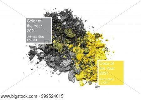 Yellow And Grey Broken Eyeshadows Isolated On White Background