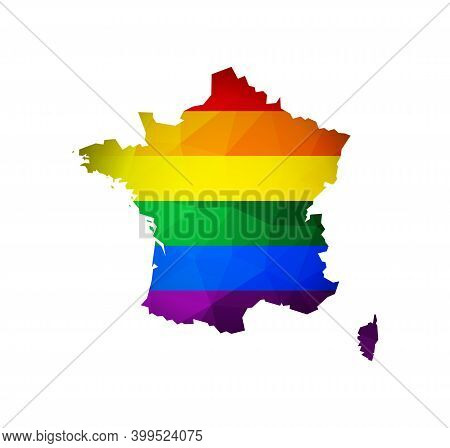 Vector Flat Isolated Illustration With France Map In Low Poly Style. Atlas Is Colored In Rainbow Lgb