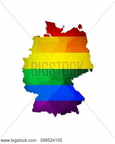 Vector Flat Isolated Illustration With Germany Map In Low Poly Style. Atlas Is Colored In Rainbow Lg