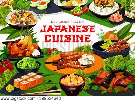Japanese Cuisine Vector Frame Of Asian Dishes With Rice, Fish, Vegetable, Meat Food. California Sush